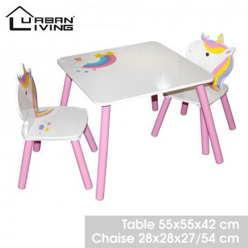 TABLE + 2 CHAISES LICORNE